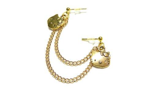 Gold Hello Kitty Double Piercing Earring Handmade