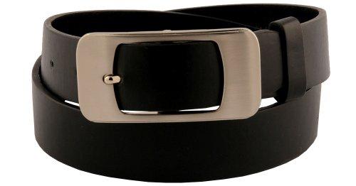 Womens Black Sleek Look Large Square Buckle Belt Large