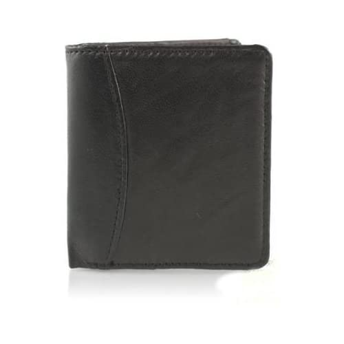 NEW MENS SMALL SOFT BLACK LEATHER WALLET 6XCARDS 1XNOTE SECTION