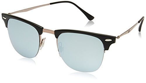 Ray-Ban-TITANIUM-MAN-SUNGLASS-SHINY-LIGHT-BROWN-Frame-GREEN-MIRROR-BLUE-Lenses-51mm-Non-Polarized