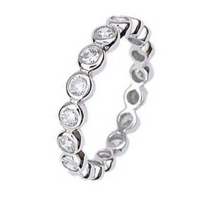 .925 Sterling Silver Eternity Band With Round Cubic Zirconias in Bezel Setting