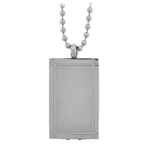 Inox Jewelry Polished and Engraveable Silver Steel in Rectangle 2GB USB Pendant For Men and Women