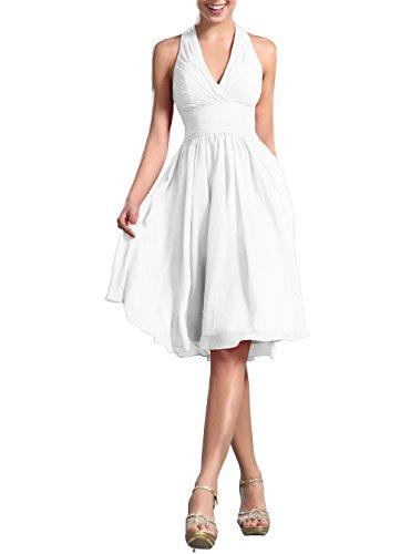 Huafeiwude Women's Knee Length Halter Dress Bridesmaid Dresses White US 6