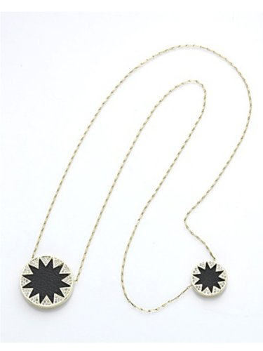 House of Harlow 1960 Jewelry Double Sunburst Pave Necklace - Black