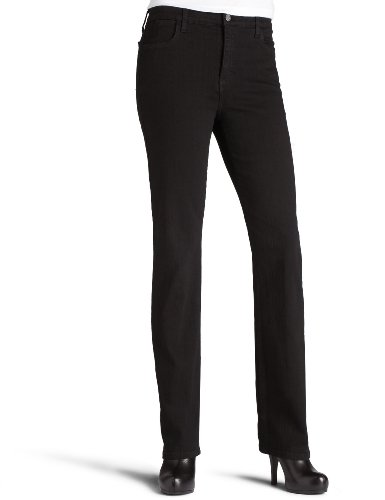 NYDJ Women's Petite Marilyn Straight Jeans, Black, 10P