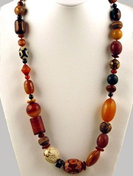 White Turquoise, Agate, dZi, Wood Necklace