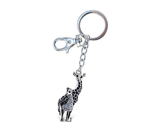 Puzzled Giraffe Sparkling Charm Elegant Keychain