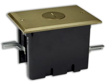 Duplex Device 24-1/2 Cu. In. Old Work Rectangular Floor Box With Nickel Plated Cover-Allied Moulded Products-Fb-2N