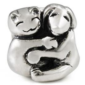 Hugging Dog & Cat 925 Sterling Silver Bead fits European Charm Bracelet