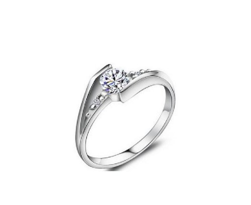 JE5046 USA Size 7.5 Silver Plated Wedding Ring,