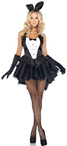Leg Avenue 3-Piece Tux And Tails Bunny Tuxedo Costume, Black/White, Medium/Large