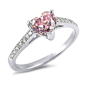 1.49ct Pink Vs Diamond Heart Ring 14k Gold