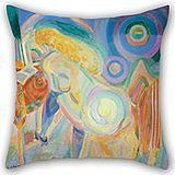 Slimmingpiggy Throw Cushion Covers Of Oil Painting Robert Delaunay - Femme Nue Lisant (Nude Woman Reading) 16 X 16 Inches / 40 By 40 Cm,best Fit For Boys,family,wife,living Room,office,christmas Bo