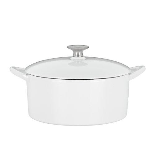 Mario Batali 826794 Enameled Cast Iron Round Dutch Oven, 4-Quart, White