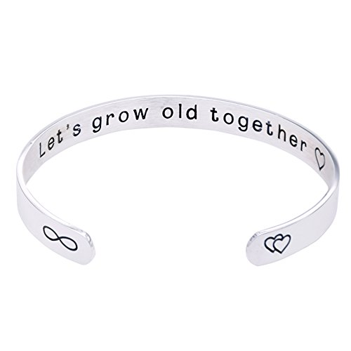 O.RIYA Stainless Steel Let's Grow Old Together Bracelet , You will Forever Be My Always Bracelets , Silver Plated (Silver-Plated)