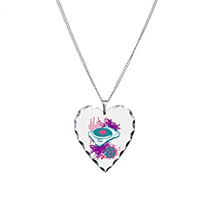 Necklace Heart Charm Neon Turntable 60s 70s 80s 90s Vinyl DJ Music