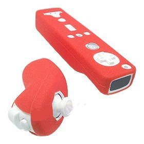 Wii Remote Silicone Skin Case for Wiimote and Nunchuk - Solid Red