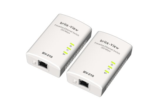 Brite-View LinkE BV-210D Digital Home Powerline Ethernet Adapters 1-port Bridge Twin Pack (White)