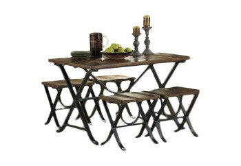 Wood and Metal Dining Table Set 4 Frame Made From Bar Shaped Tubular Metal in Textured Black Color Powder Coat Finish and Pine Veneer