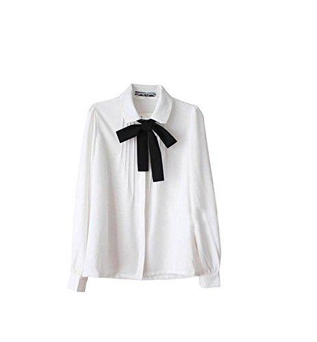 OYang Chic Lady Bowknot Baby Collar Long Sleeve OL Chiffon Button Shirt Blouse (XL)