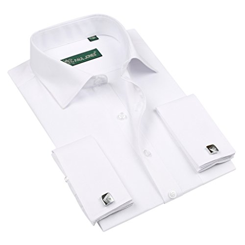 4678aa20ee16 ZERDSKY Men's Slim Fit Solid Color French Cuff Dress Shirt(Cufflinks  Included)