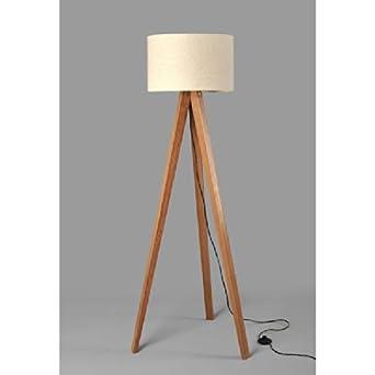 stehlampe tripod stehleuchte deckenfluter standleuchte fluter leselampe beige braun. Black Bedroom Furniture Sets. Home Design Ideas