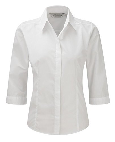 russell-collection-ladies-3-4-sleeve-fitted-poplin-shirt-color-white-size-s