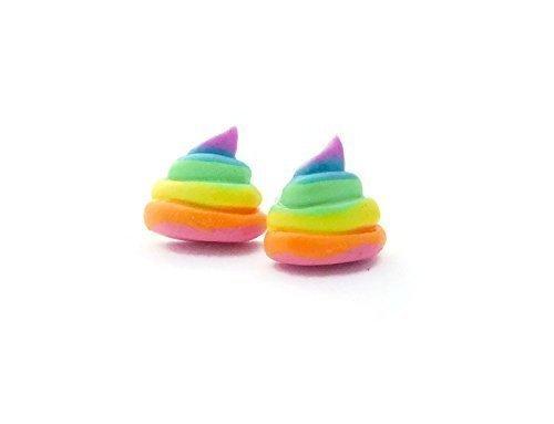 scented-unicorn-poop-rainbow-stud-earrings