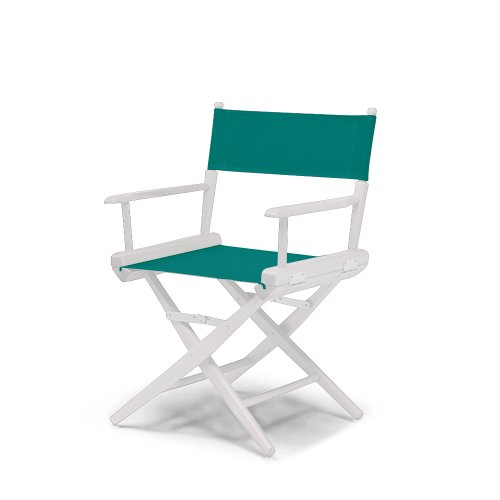 Telescope Casual World Famous Dining Height Director Chair, Teal With White Frame