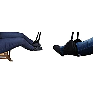 Sleepy Ride - Portable Airplane Footrest + Memory Foam Sleep Mask - Travel Accessories (Jet Black)