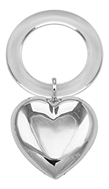 buy Engravable Sterling Silver Large Heart Rattle - Teething Ring