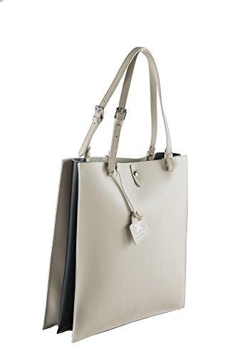 Anna Cecere Shopping artigianale in vera pelle con pochette interna - Beige/Nero
