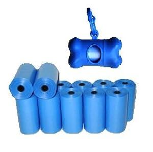 220 Biodegradable, Dog Waste Bags, Pet Waste Bags - BLUE + FREE Bone Dispenser, by Pet Supply City LLC
