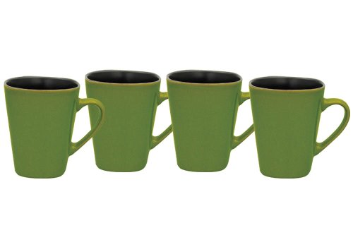 Culver 14-Ounce Sterling Ceramic Mug, Lime Green, Set of 4