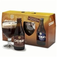 Chimay Red, White, and Blue Gift Set with Goblet &#8211; (330ml Bottles)