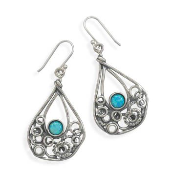 Oxidized Abstract Drop Earrings with Synthetic Opal