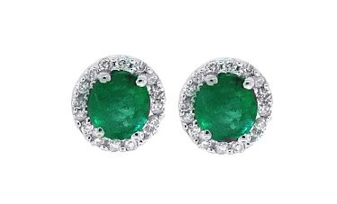 0.58 ct Genuine Oval Emerald Earrings with Diamonds in 14Kt White Gold