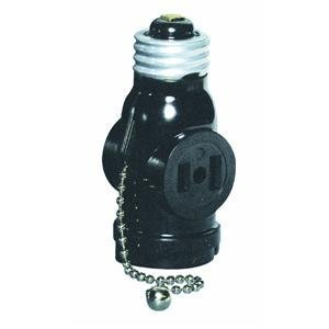 Leviton 1406 660 Watt, 125 Volt, Two Outlet With Pull Chain Socket Adapter, Black