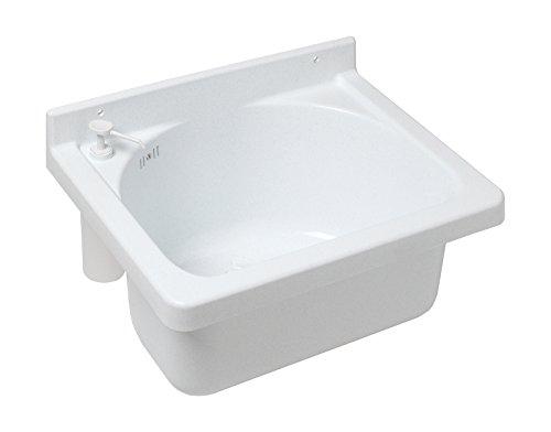 Ausgussbecken Onda | Mit Seifenspender | Mehr Hygiene | 52 cm | Kunststoff | Waschbecken | Keller | Waschküche | Garage | Garten | Mit Überlaufschutz | Robust | Wiederstandsfähig