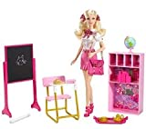 Barbie houses and accessories -Barbie - Princess Charm School set V6955 (Kids can recreate scenes from the animated movie Barbie: Princess Charm School with this wonderful set from MATTEL.The set comes with several accessories, includig a blackboard, des