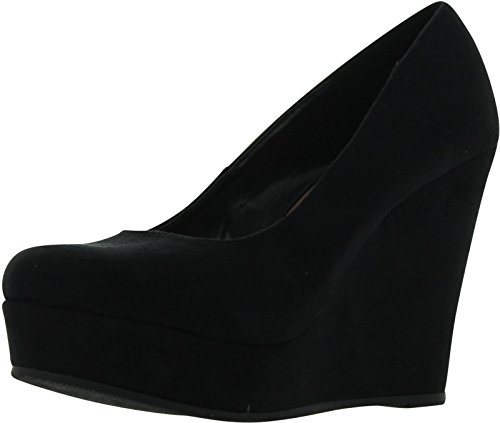 Soda Beer-S Wedges Pumps-Shoes, Black Suede, 7.5 (Soda Shoes Women Wedges compare prices)