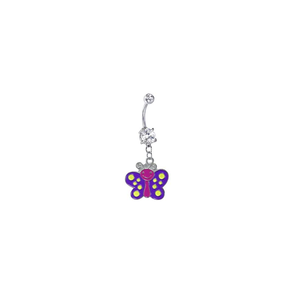 Purple Yellow Polka Dot Butterfly Belly Ring