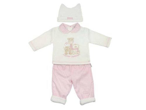 Baby Girls Fleece Lined, Trousers & Hat Set (6-9 Months)