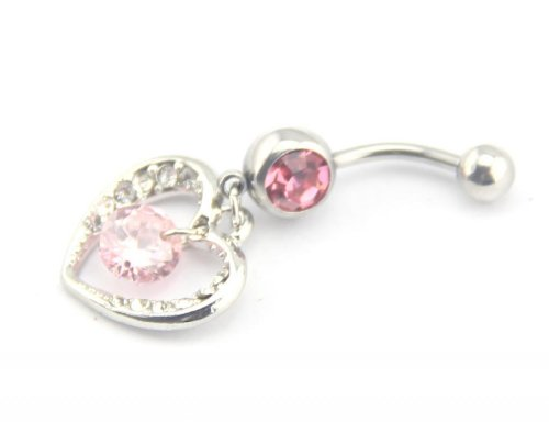Baqi 14G Hollow Heart Hanging Cz Pink Sparking Dangle Navel Belly Ring Bar Barbell Pink