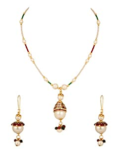 Necklace Set with Golden Capped Pearl Drop; Enamel; Colour Bead Chain available at Amazon for Rs.349