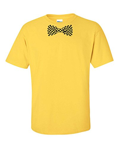 Jacted Up Tees Checkered Bow Tie Men'S T-Shirt - Large Daisy (342)