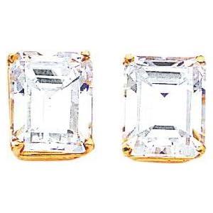 Cubic Zirconia Earrings Jewelry 14K Gold Emerald Cut
