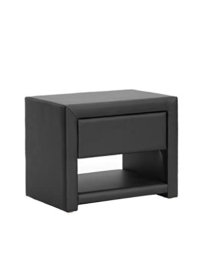 Baxton Studio Massey Upholstered Nightstand, Black As You See