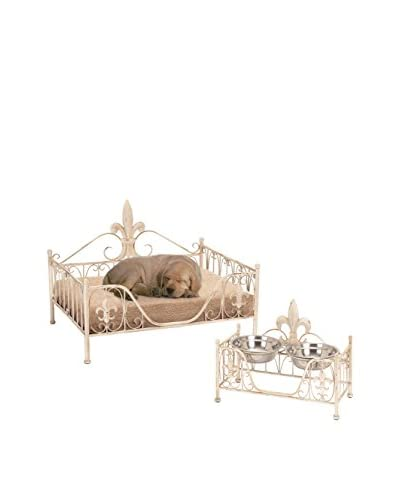 Deco 79 Fleur-De-Lis Metal Pet Bed, White