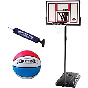 "Lifetime 48"" Portable Basketball System with Bonus Basketball Package"